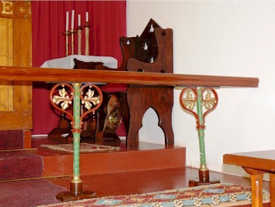 The credence table, President's chair and altar rail